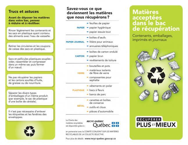 Le dépliant d'information sur la Charte des matières recyclables présente des trucs et astuces sur le recyclage domestique